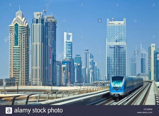 sheikh-zayed-road-skyline-of-high-rise-buildings-and-skyscrapers-and-CFJMKM
